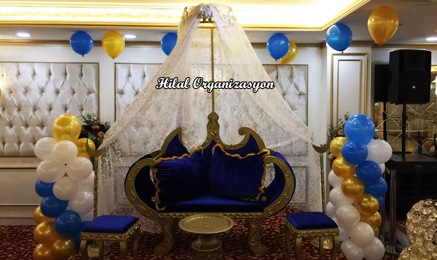 mavi sünnet koltuğu süsleme